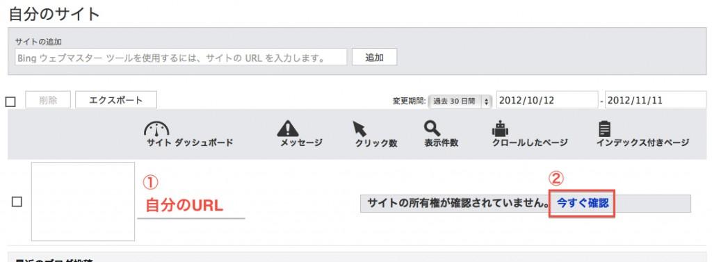 bingウェブマスターツールのダッシュボード画面画像