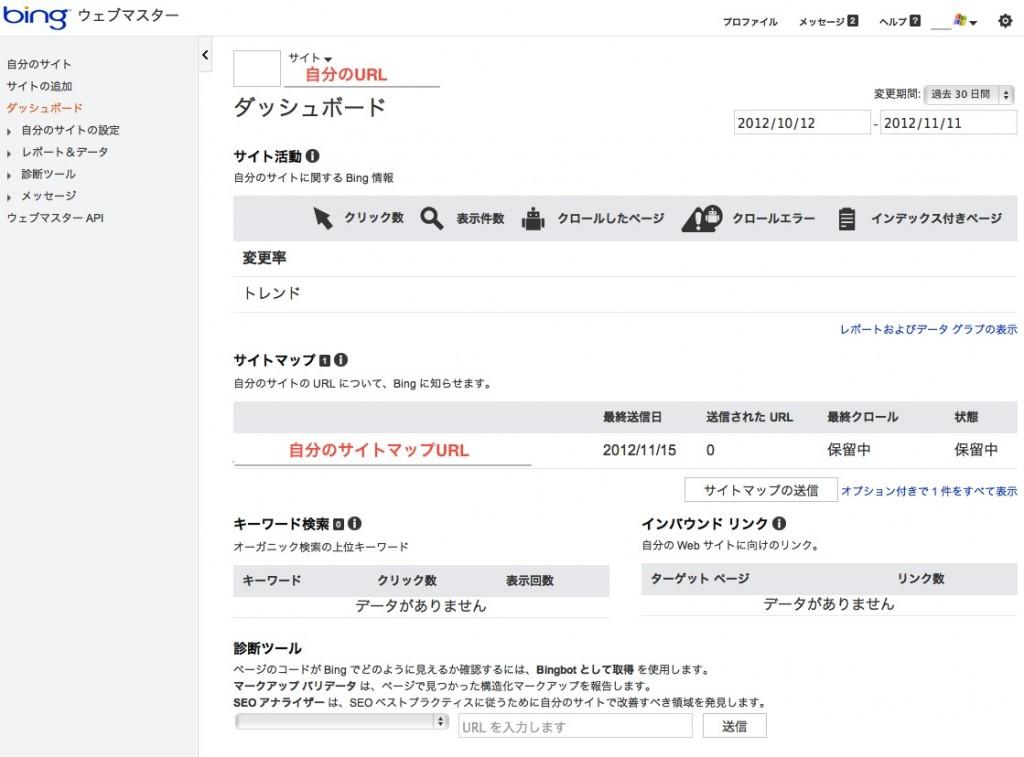 bingウェブマスターツールのサイト確認後ダッシュボード画面画像