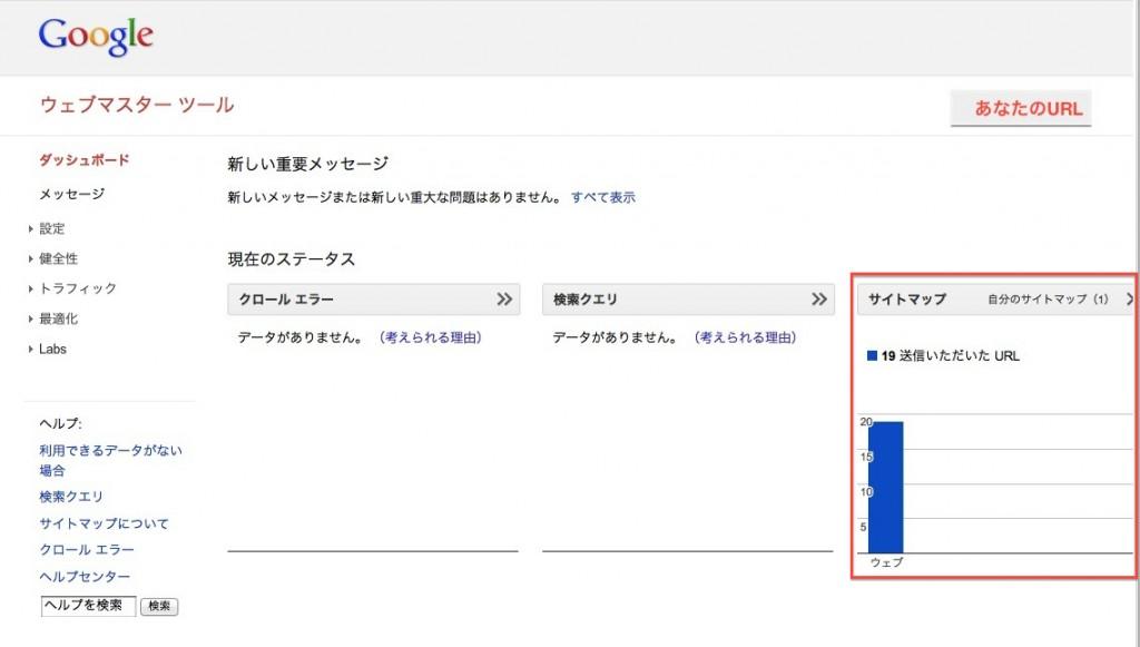 googleウェブマスターツールのサイトマップ追加後のダッシュボード画面画像